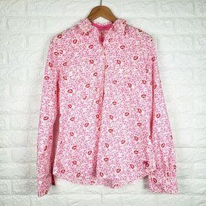 Lilly Pulitzer XOXO Kiss Print Button Up Shirt M